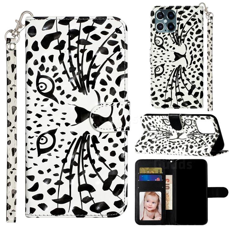 Leopard Panther 3D Leather Phone Holster Wallet Case for iPhone 12 Pro Max (6.7 inch)