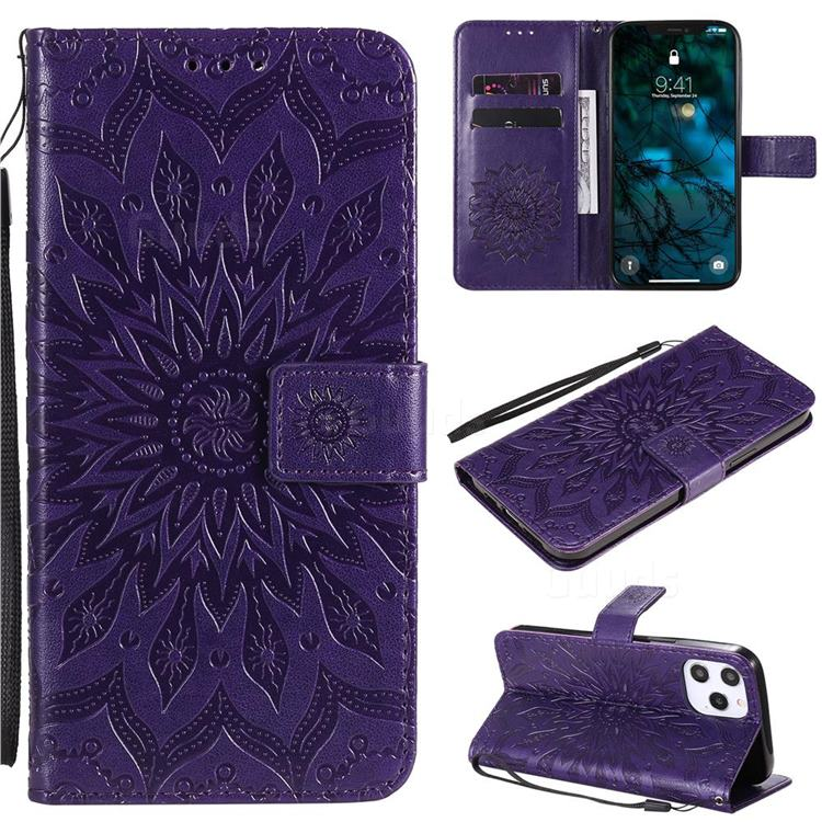 Embossing Sunflower Leather Wallet Case for iPhone 12 Pro Max (6.7 inch) - Purple