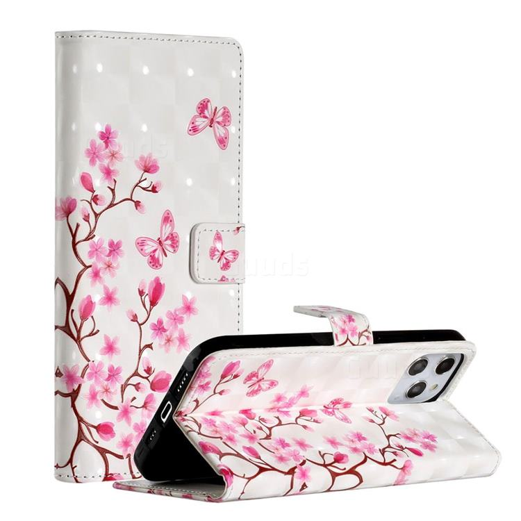Butterfly Sakura Flower 3D Painted Leather Phone Wallet Case for iPhone 12 Pro Max (6.7 inch)