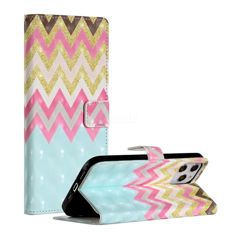 Color Wave 3D Painted Leather Phone Wallet Case for iPhone 12 Pro Max (6.7 inch)