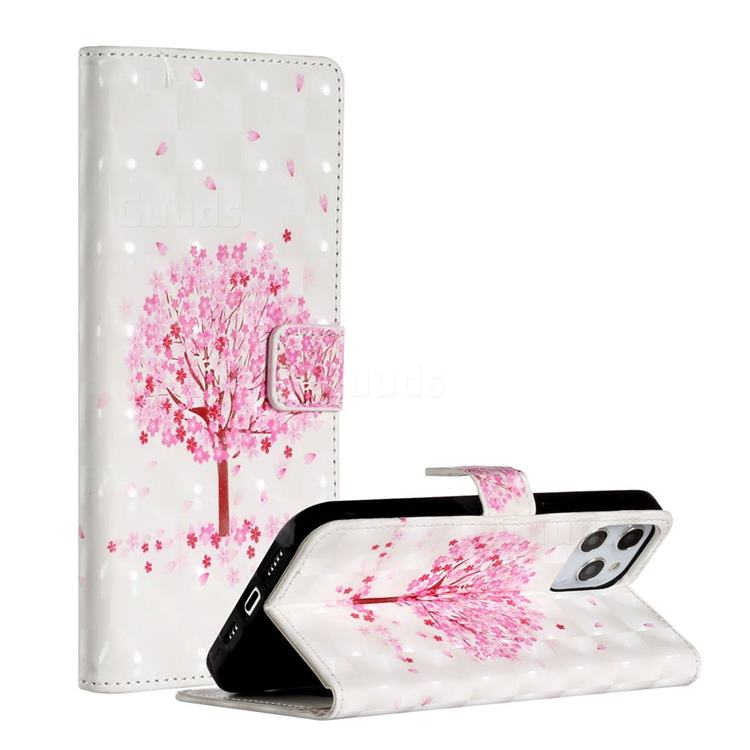 Sakura Flower Tree 3D Painted Leather Phone Wallet Case for iPhone 12 Pro Max (6.7 inch)