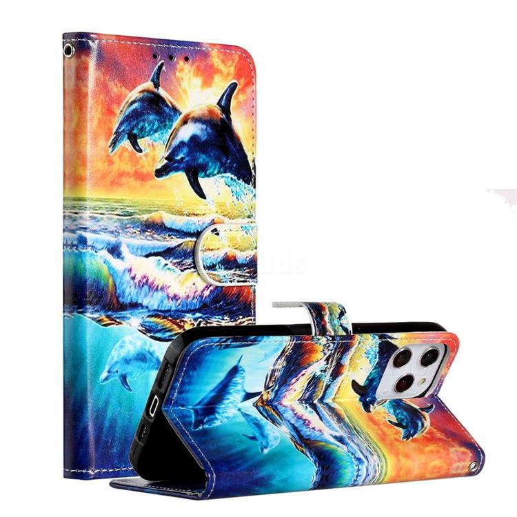 Couple Dolphin Smooth Leather Phone Wallet Case for iPhone 12 Pro Max (6.7 inch)