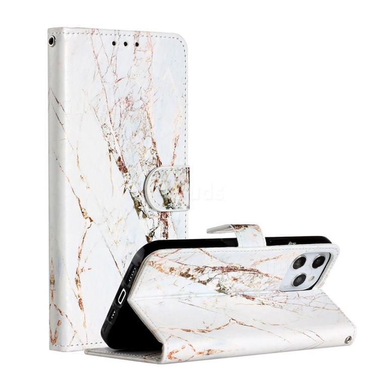 White Marble Smooth Leather Phone Wallet Case for iPhone 12 Pro Max (6.7 inch)