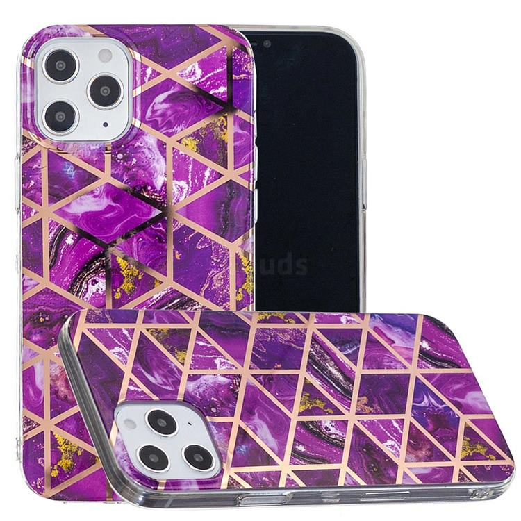 Purple Rhombus Galvanized Rose Gold Marble Phone Back Cover for iPhone 12 Pro Max (6.7 inch)