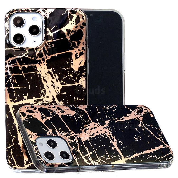 Black Galvanized Rose Gold Marble Phone Back Cover for iPhone 12 Pro Max (6.7 inch)