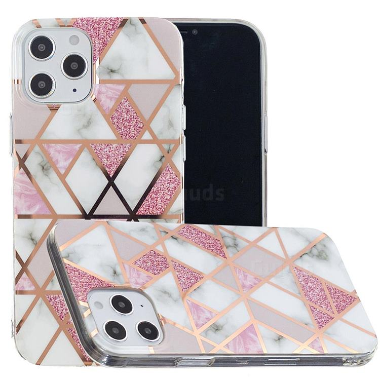 Pink Rhombus Galvanized Rose Gold Marble Phone Back Cover for iPhone 12 Pro Max (6.7 inch)