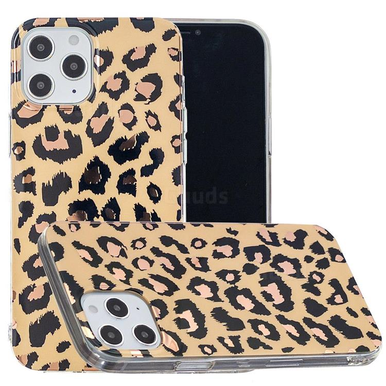 Leopard Galvanized Rose Gold Marble Phone Back Cover for iPhone 12 Pro Max (6.7 inch)