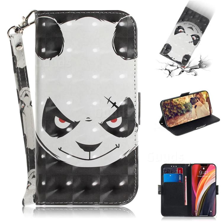Angry Bear 3D Painted Leather Wallet Phone Case for iPhone 12 Pro Max (6.7 inch)