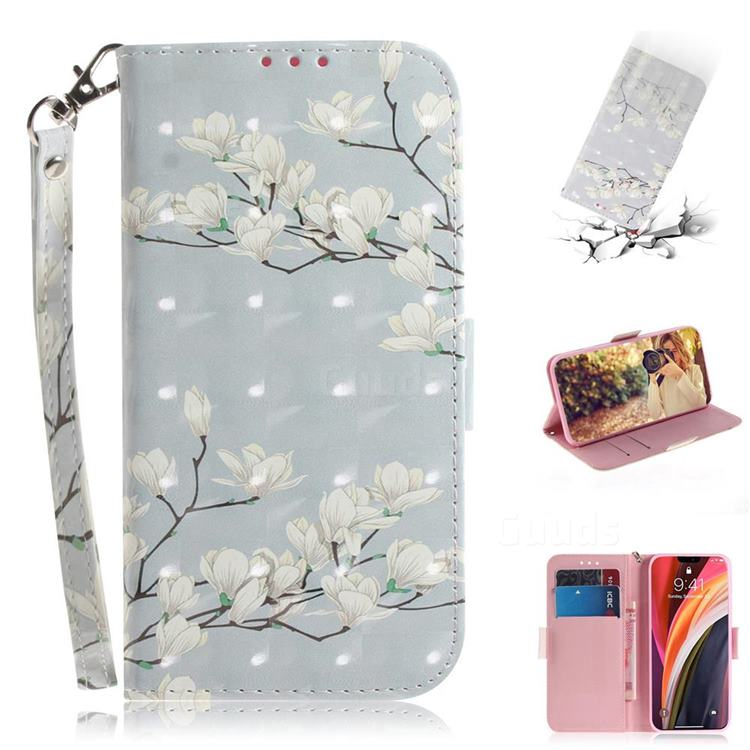Magnolia Flower 3D Painted Leather Wallet Phone Case for iPhone 12 Pro Max (6.7 inch)