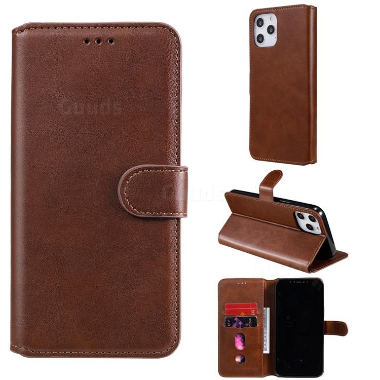 Retro Calf Matte Leather Wallet Phone Case for iPhone 12 Pro Max (6.7 inch) - Brown