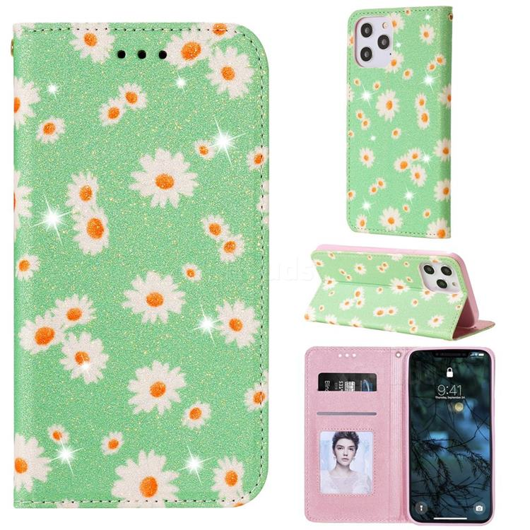 Ultra Slim Daisy Sparkle Glitter Powder Magnetic Leather Wallet Case for iPhone 12 Pro Max (6.7 inch) - Green