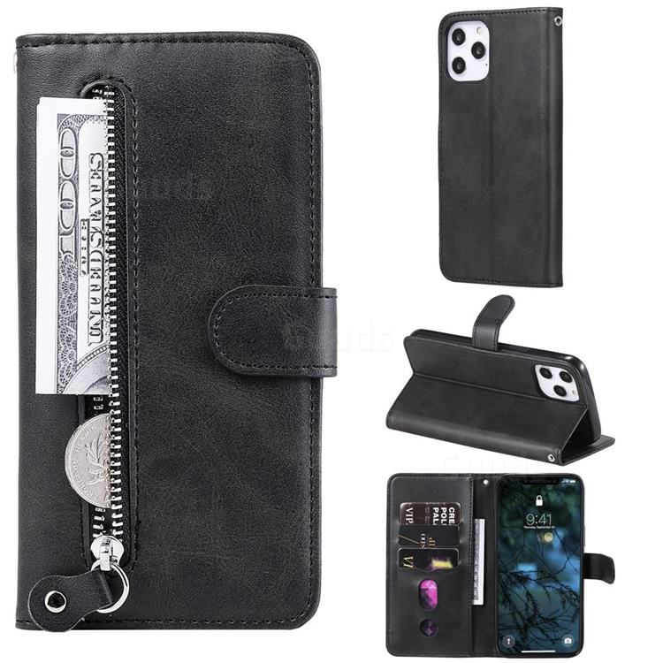 Retro Luxury Zipper Leather Phone Wallet Case for iPhone 12 Pro Max (6.7 inch) - Black