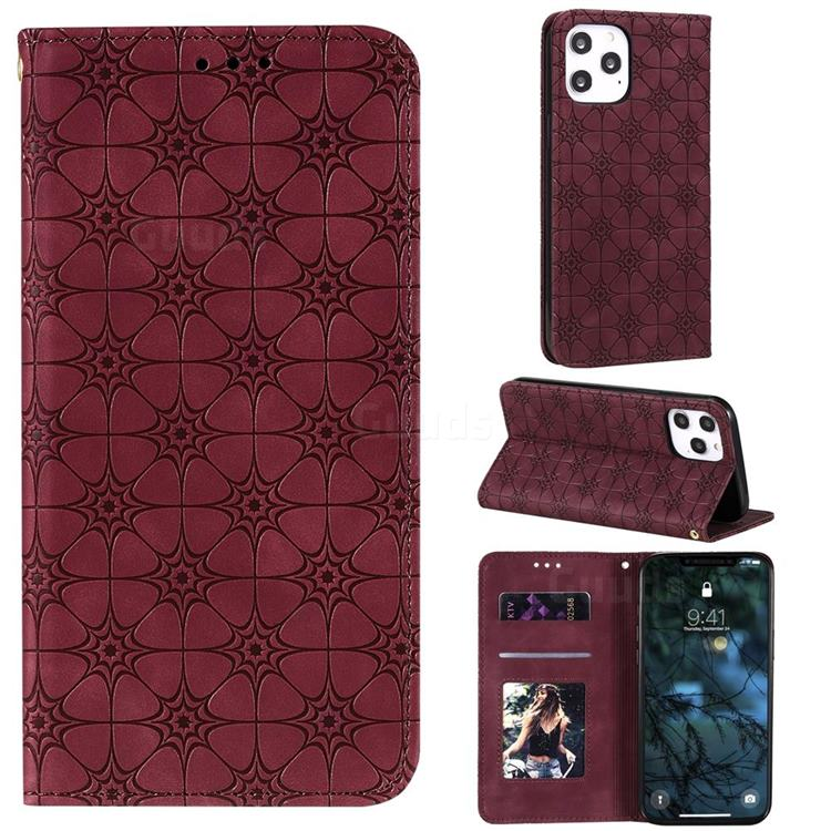 Intricate Embossing Four Leaf Clover Leather Wallet Case for iPhone 12 Pro Max (6.7 inch) - Claret