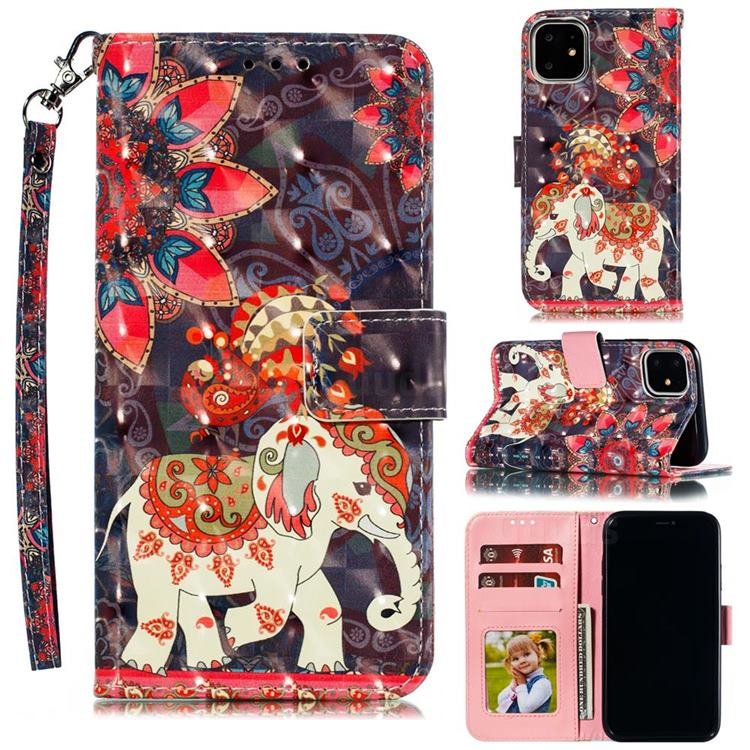 Phoenix Elephant 3D Painted Leather Phone Wallet Case for iPhone 12 Pro Max (6.7 inch)
