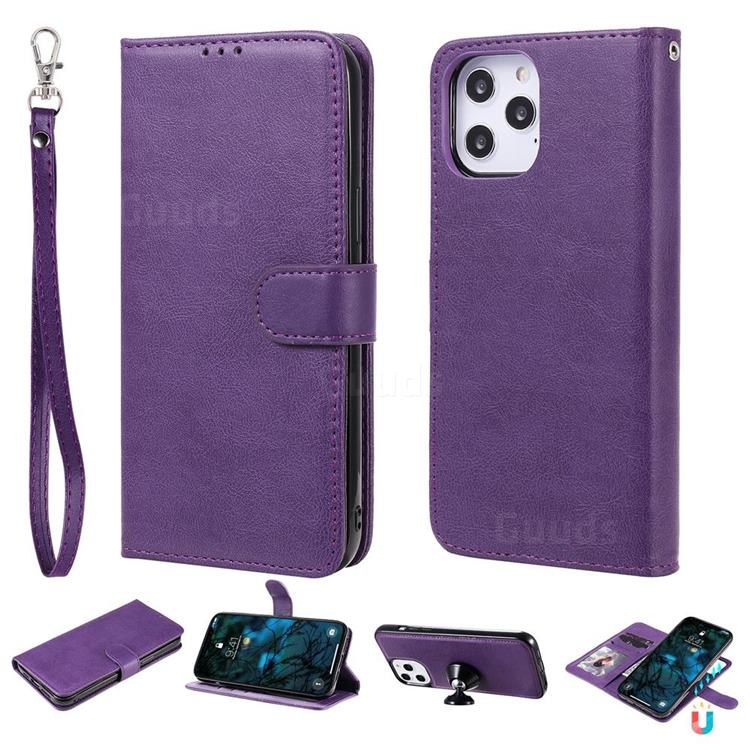 Retro Greek Detachable Magnetic PU Leather Wallet Phone Case for iPhone 12 Pro Max (6.7 inch) - Purple