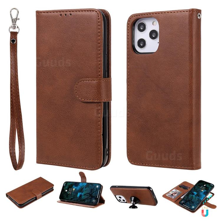 Retro Greek Detachable Magnetic PU Leather Wallet Phone Case for iPhone 12 Pro Max (6.7 inch) - Brown
