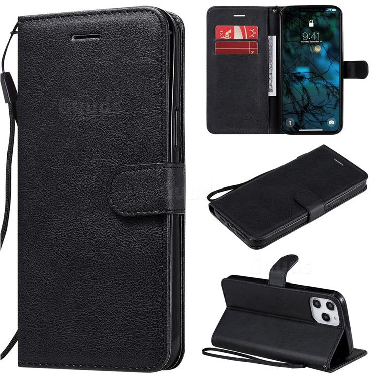 Retro Greek Classic Smooth PU Leather Wallet Phone Case for iPhone 12 Pro Max (6.7 inch) - Black