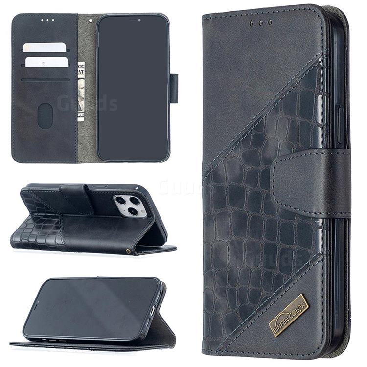 BinfenColor BF04 Color Block Stitching Crocodile Leather Case Cover for iPhone 12 Pro Max (6.7 inch) - Black