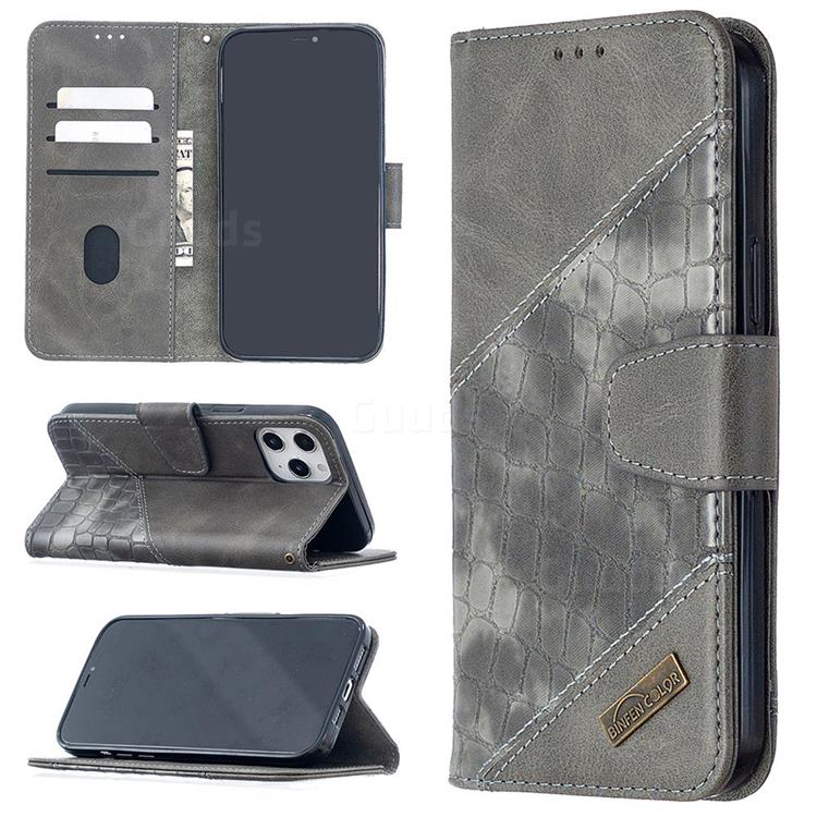 BinfenColor BF04 Color Block Stitching Crocodile Leather Case Cover for iPhone 12 Pro Max (6.7 inch) - Gray