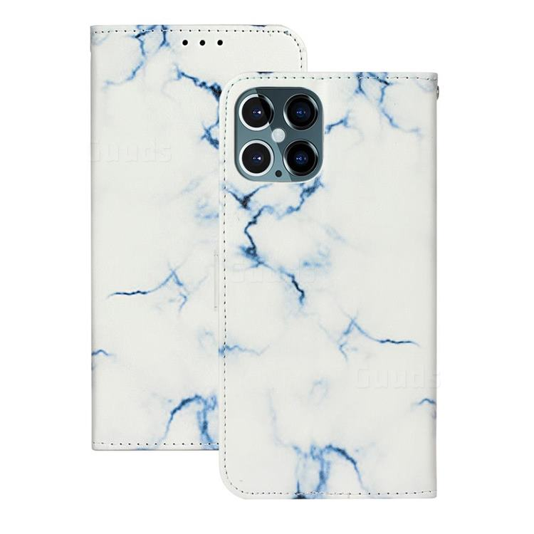 Soft White Marble PU Leather Wallet Case for iPhone 12 Pro Max (6.7 inch)