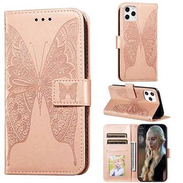 Intricate Embossing Vivid Butterfly Leather Wallet Case for iPhone 12 Pro Max (6.7 inch) - Rose Gold