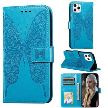 Intricate Embossing Vivid Butterfly Leather Wallet Case for iPhone 12 Pro Max (6.7 inch) - Blue