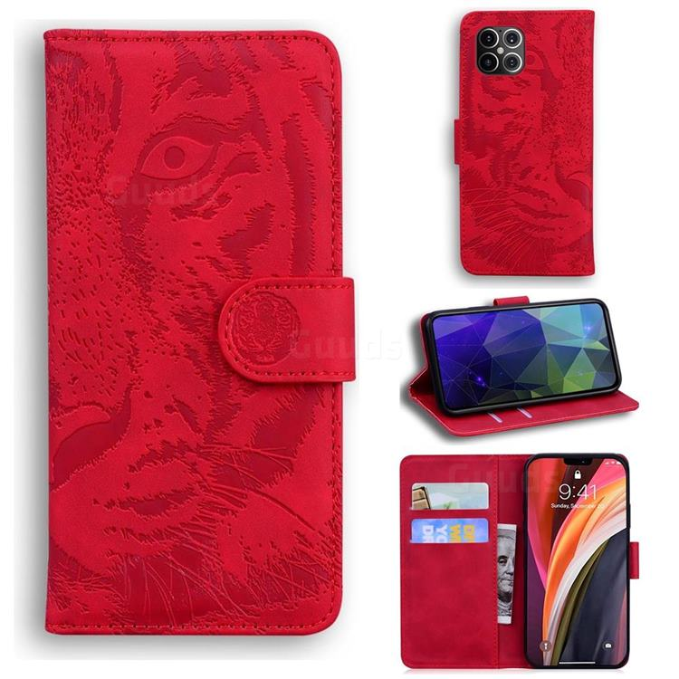 Intricate Embossing Tiger Face Leather Wallet Case for iPhone 12 Pro Max (6.7 inch) - Red