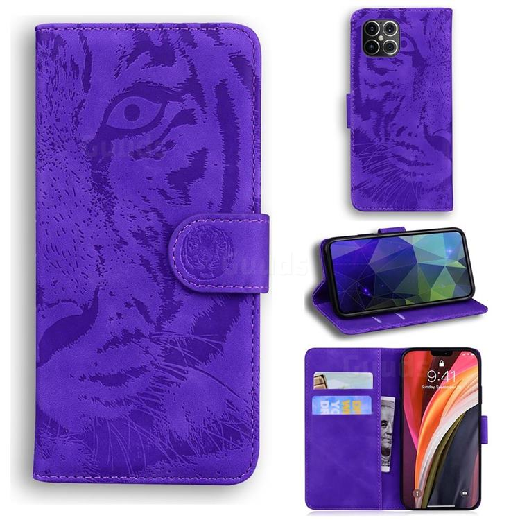 Intricate Embossing Tiger Face Leather Wallet Case for iPhone 12 Pro Max (6.7 inch) - Purple