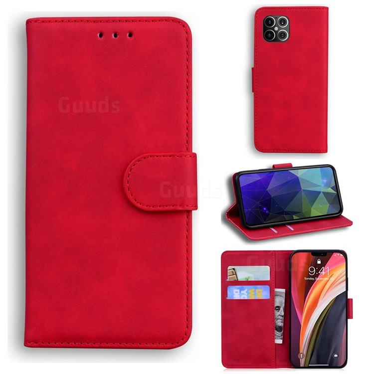 Retro Classic Skin Feel Leather Wallet Phone Case for iPhone 12 Pro Max (6.7 inch) - Red