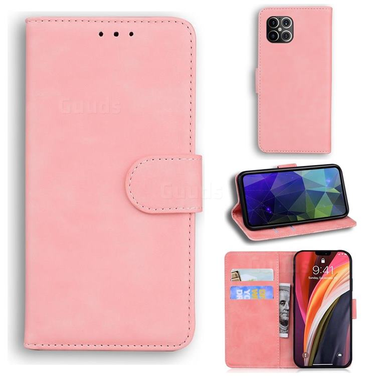 Retro Classic Skin Feel Leather Wallet Phone Case for iPhone 12 Pro Max (6.7 inch) - Pink