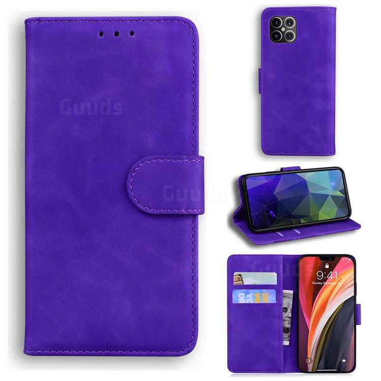 Retro Classic Skin Feel Leather Wallet Phone Case for iPhone 12 Pro Max (6.7 inch) - Purple