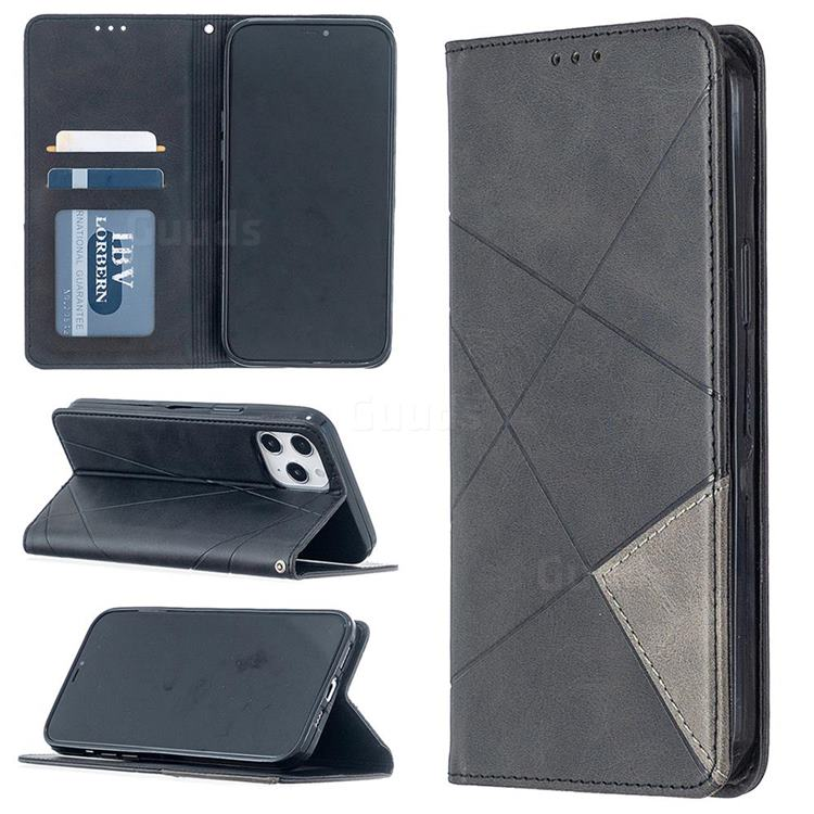 Prismatic Slim Magnetic Sucking Stitching Wallet Flip Cover for iPhone 12 Pro Max (6.7 inch) - Black