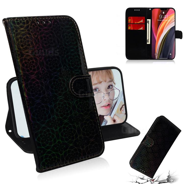 Laser Circle Shining Leather Wallet Phone Case for iPhone 12 Pro Max (6.7 inch) - Black
