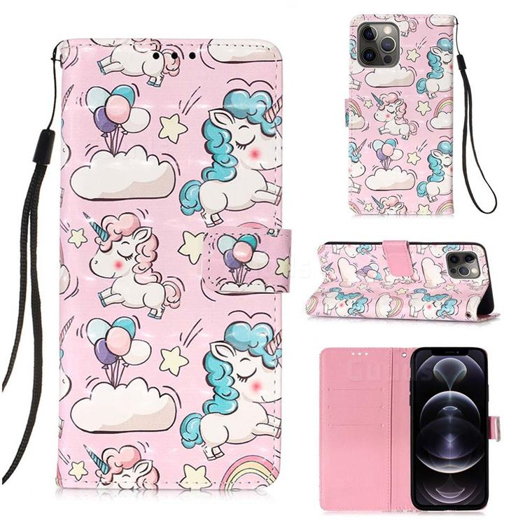Angel Pony 3D Painted Leather Wallet Case for iPhone 12 Pro Max (6.7 inch)