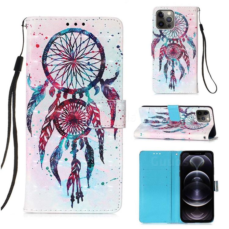 ColorDrops Wind Chimes 3D Painted Leather Wallet Case for iPhone 12 Pro Max (6.7 inch)