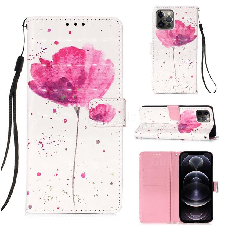 Watercolor 3D Painted Leather Wallet Case for iPhone 12 Pro Max (6.7 inch)