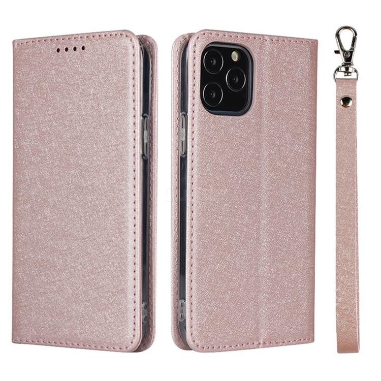 Ultra Slim Magnetic Automatic Suction Silk Lanyard Leather Flip Cover for iPhone 12 Pro Max (6.7 inch) - Rose Gold