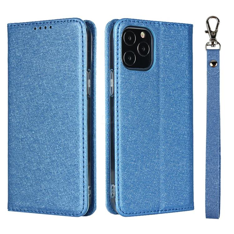 Ultra Slim Magnetic Automatic Suction Silk Lanyard Leather Flip Cover for iPhone 12 Pro Max (6.7 inch) - Sky Blue
