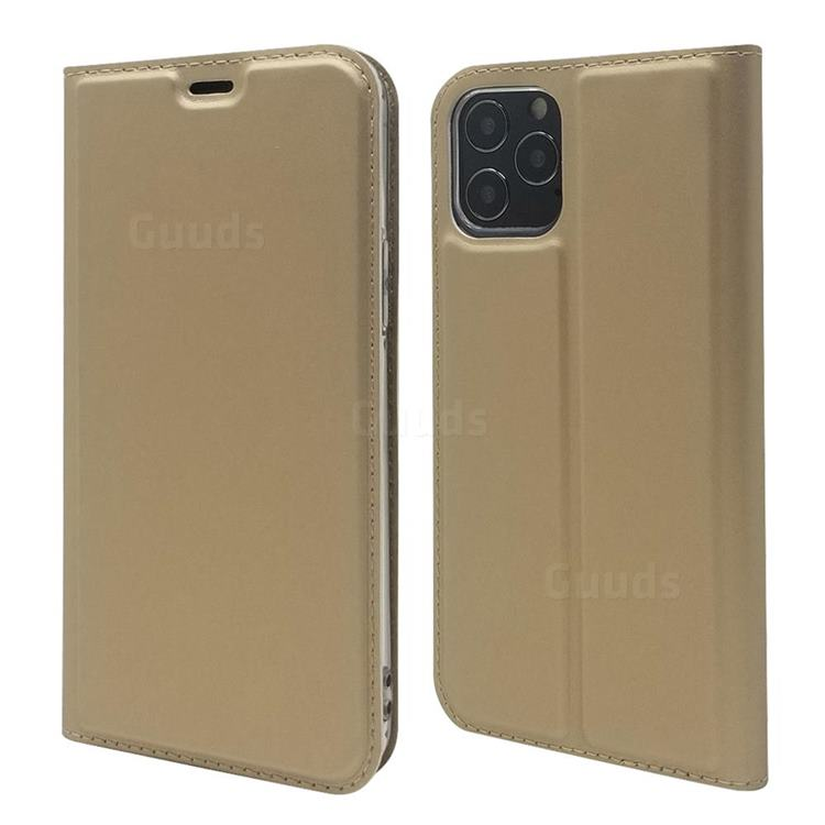 Ultra Slim Card Magnetic Automatic Suction Leather Wallet Case for iPhone 12 Pro Max (6.7 inch) - Champagne