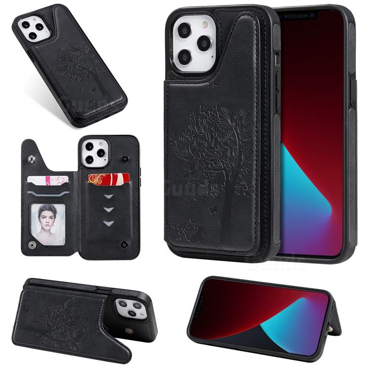 Luxury Tree and Cat Multifunction Magnetic Card Slots Stand Leather Phone Back Cover for iPhone 12 Pro Max (6.7 inch) - Black