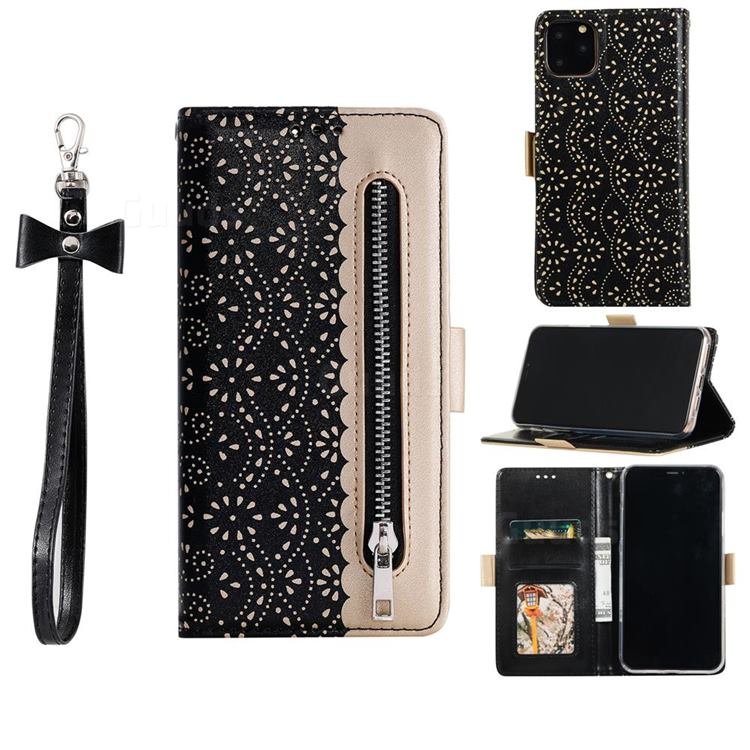 Luxury Lace Zipper Stitching Leather Phone Wallet Case for iPhone 12 Pro Max (6.7 inch) - Black