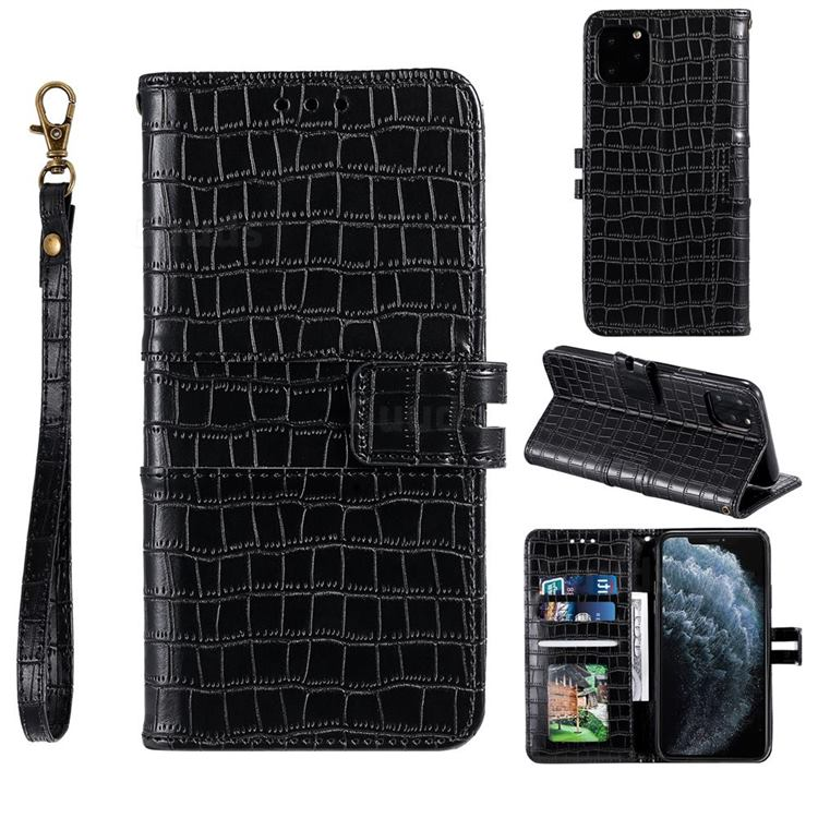 Luxury Crocodile Magnetic Leather Wallet Phone Case for iPhone 12 Pro Max (6.7 inch) - Black