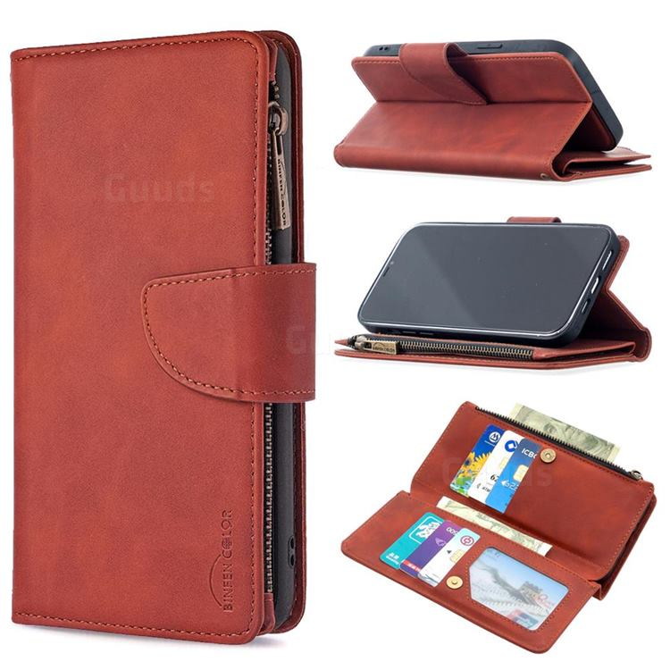 Binfen Color BF02 Sensory Buckle Zipper Multifunction Leather Phone Wallet for iPhone 12 Pro Max (6.7 inch) - Brown