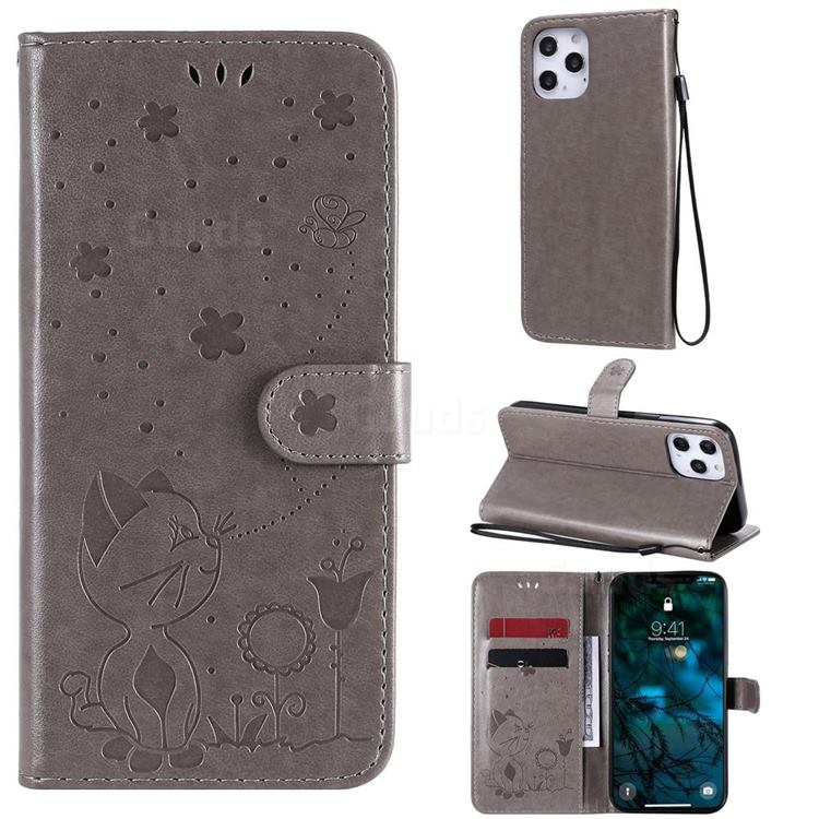 Embossing Bee and Cat Leather Wallet Case for iPhone 12 Pro Max (6.7 inch) - Gray