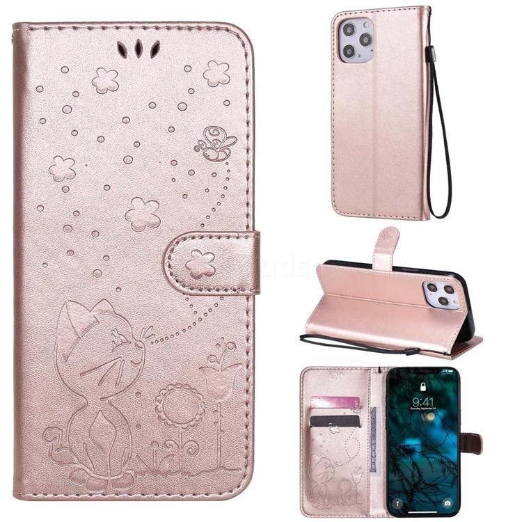 Embossing Bee and Cat Leather Wallet Case for iPhone 12 Pro Max (6.7 inch) - Rose Gold