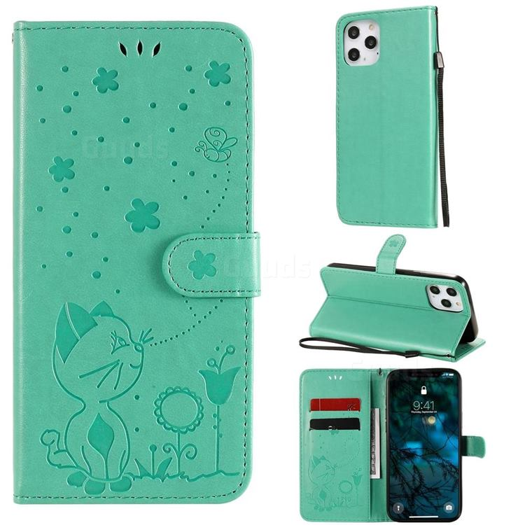 Embossing Bee and Cat Leather Wallet Case for iPhone 12 Pro Max (6.7 inch) - Green