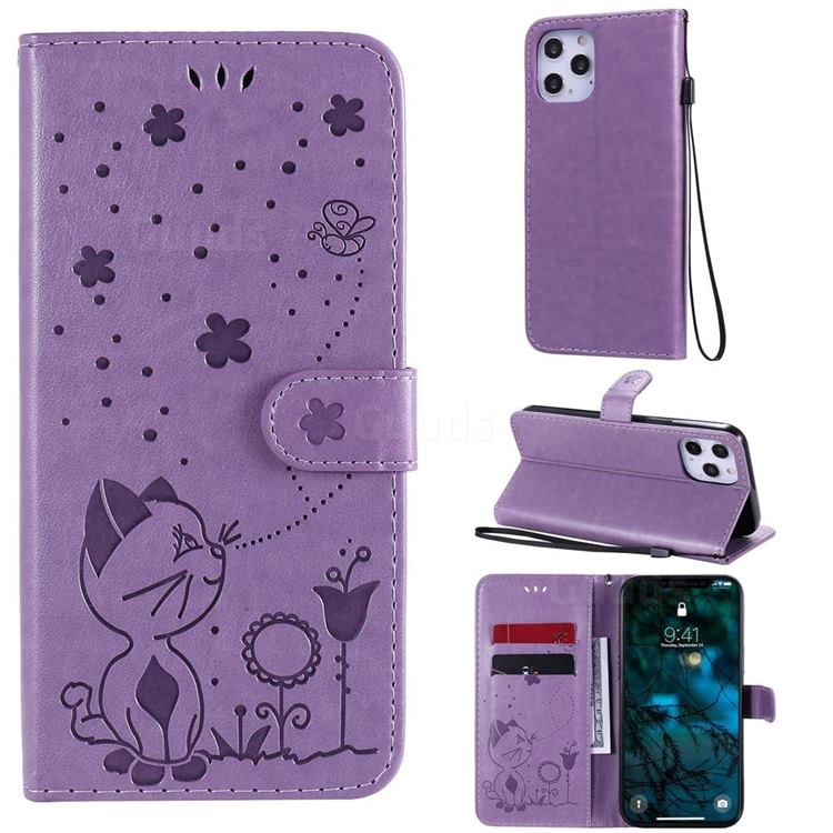 Embossing Bee and Cat Leather Wallet Case for iPhone 12 Pro Max (6.7 inch) - Purple