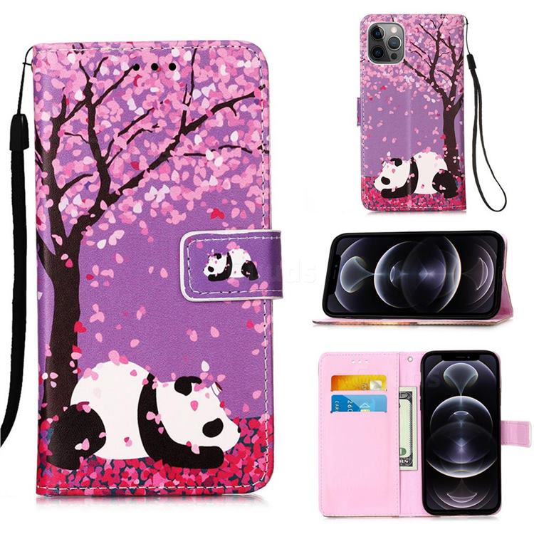 Cherry Blossom Panda Matte Leather Wallet Phone Case for iPhone 12 Pro Max (6.7 inch)