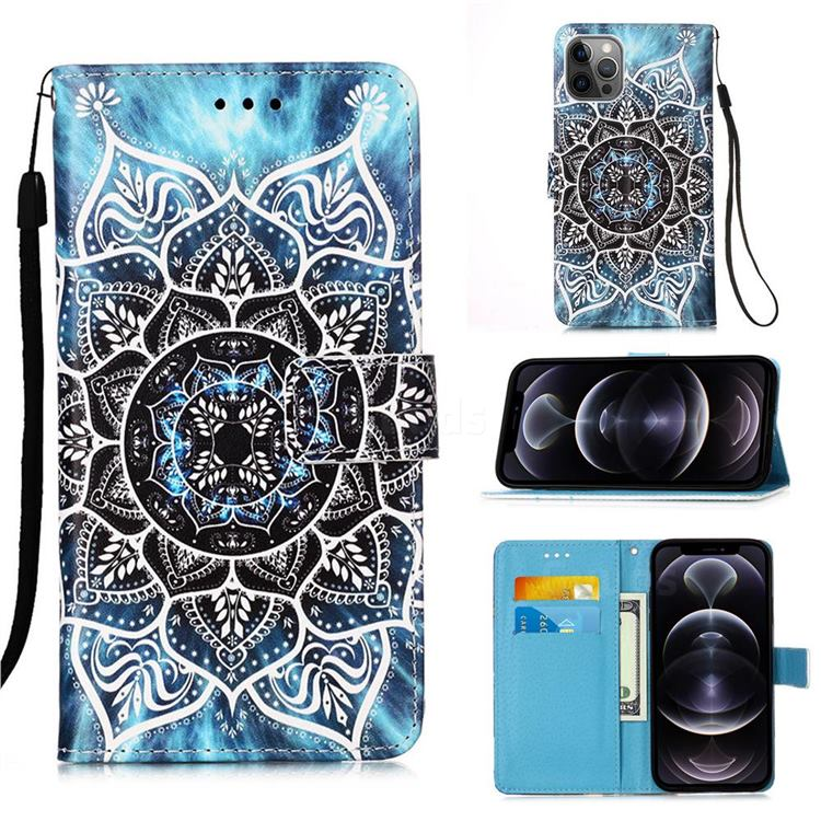 Underwater Mandala Matte Leather Wallet Phone Case for iPhone 12 Pro Max (6.7 inch)