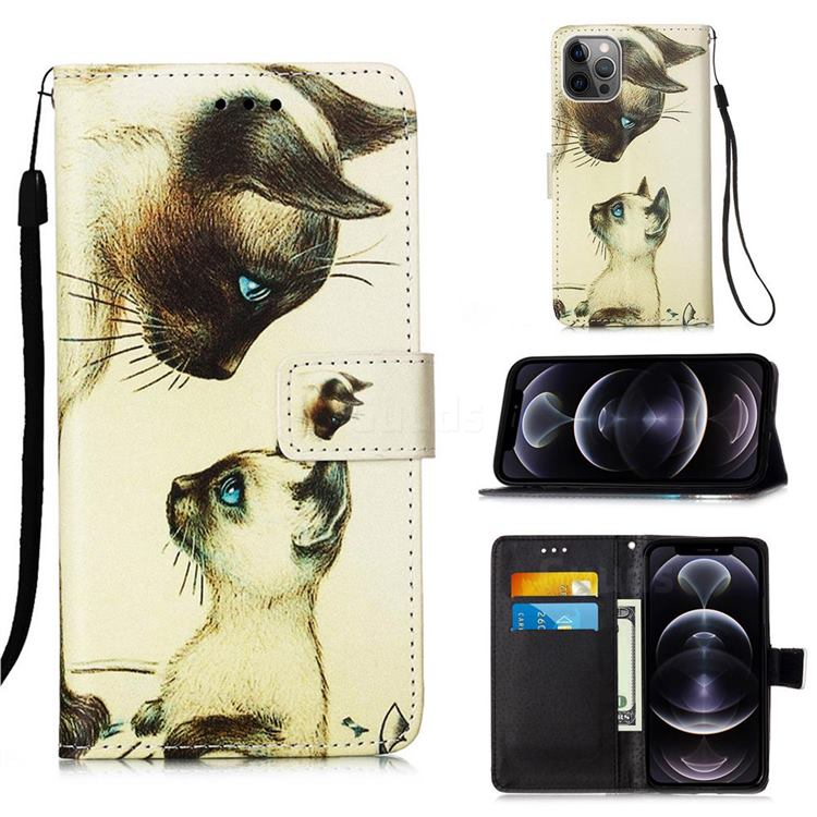 Cat Confrontation Matte Leather Wallet Phone Case for iPhone 12 Pro Max (6.7 inch)